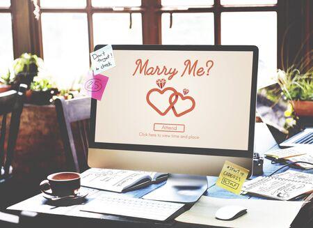 love icon: Marry me Love Heart Inscription Concept