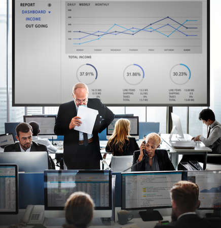 account executive: People Working Accounting Finance Busy Concept Stock Photo
