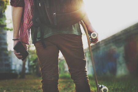 extreme sports: Skateboarding Practice Freestyle Extreme Sports Concept Stock Photo