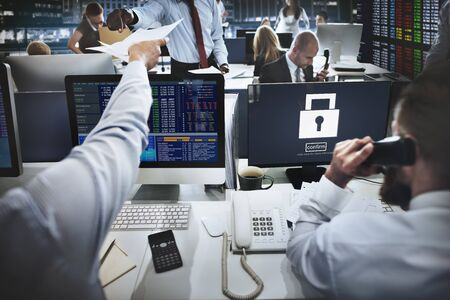 stock exchange brokers: Lock Security Icon Safety Confirm Concept Stock Photo