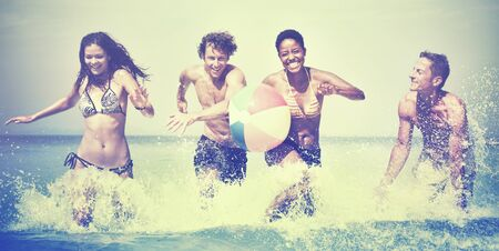 carefree: Group of People Summer Beach Vacation Carefree Concept