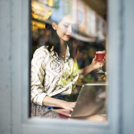 chill: Girl Lady Style Restaurant Leisure Chill Cafe Fun Concept Stock Photo