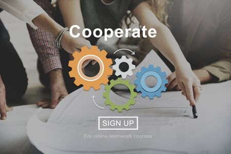 business gears: Cooperate Support Collaboration Partnership Concept