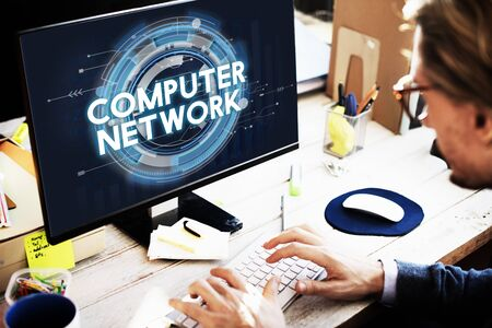 computer network: Computer Network Connection Globalization Networking Concept Stock Photo