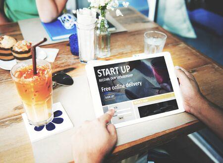 De inicio Nueva Visión de negocio concepto de la estrategia de lanzamiento
