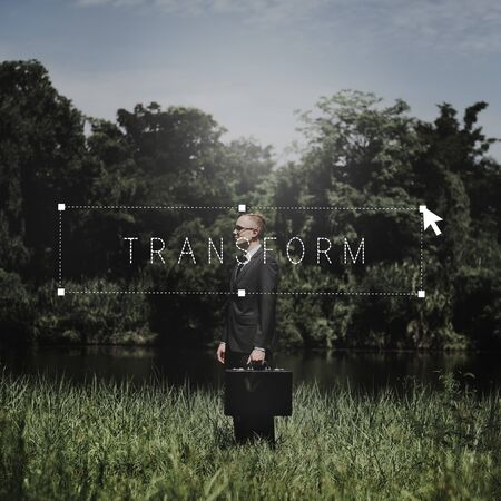 attache case: Transform Transfromation Rebrand Changing Concept Stock Photo
