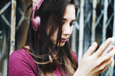 media gadget: Earphones Headphone Audio Gadget Music Media Concept Stock Photo