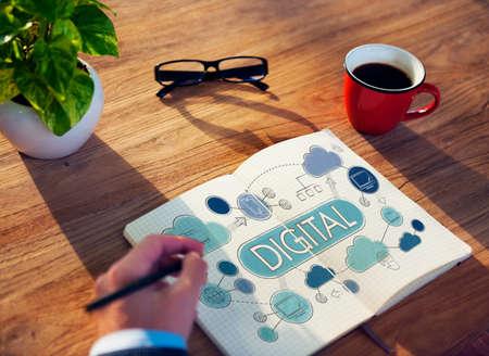 advanced computing: Digital Electronic Advanced Technology Share Concept Stock Photo
