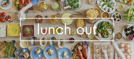 out to lunch: Lunch Out Food Party Restaurant Glamourous Togetherness Concept Stock Photo