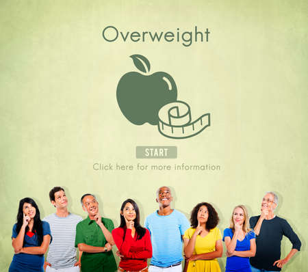 unhealthy thoughts: Overweight Diet Eating Disorder Unhealthy Diabetes Fat Concept