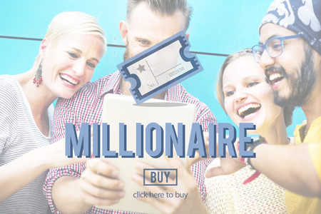 hombre millonario: Concepto lotería millonario premio de entradas