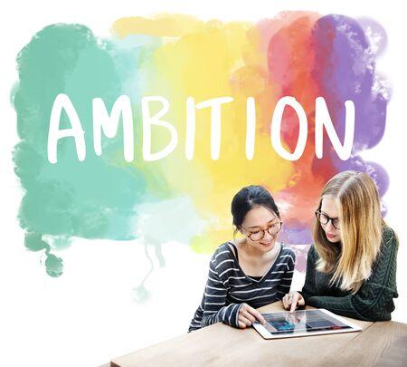 ambition: Ambition AIm Aspire Goals Motivation Aspirations Concept