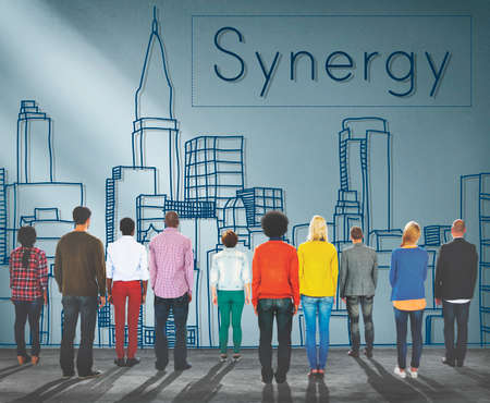 sinergia: Synergy Team Interaction Organization Cooperation Concept Foto de archivo