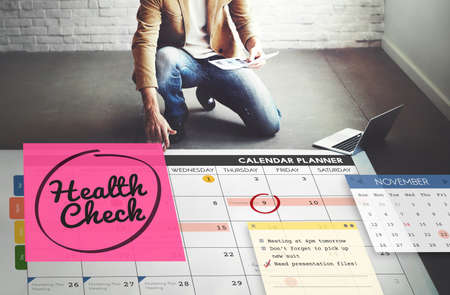 workplace wellness: Health Check Healthcare and Medicine Wellness Schedule Concept