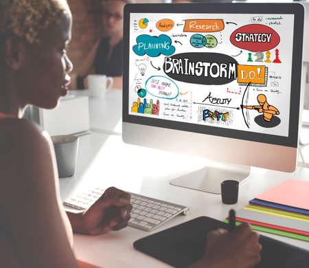 using computer: Brainstorming Analysis Planning Sharing Meeting Concept
