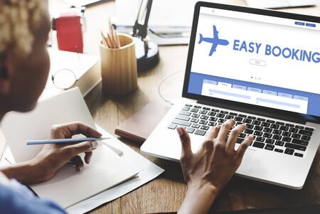 flight booking: Easy Booking Holiday Flight Tourism Concept