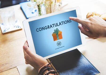 compliment: Congratulations Celebration Congrats Greeting Concept Stock Photo