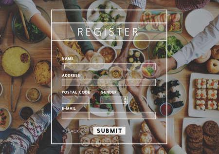 wine register: Register Registration Enter Apply Membership Concept Stock Photo