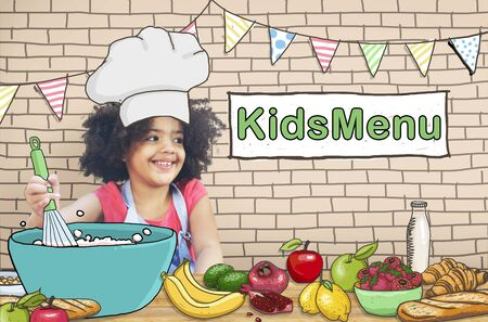 little chef: Kids Menu Cooking Child Culinary Food Concept Stock Photo