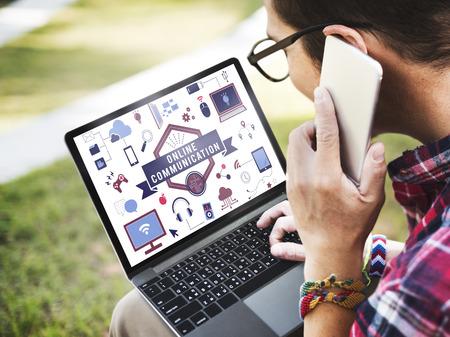 Online communication concept on a laptop Archivio Fotografico