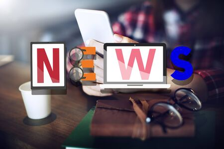 keywords adult: News Broadcast Information Report Update Communication Concept Stock Photo