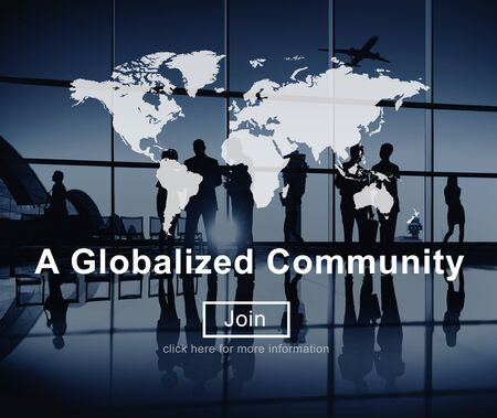 group network: A Globalized Community Worldwide Connection Network Concept Stock Photo