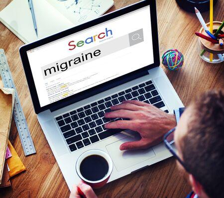 throbbing: Migraine Symptoms Diagnosis Disturbed Vision Concept