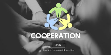 cooperate: Cooperation Cooperate Collaboration Teamwork Concept Stock Photo