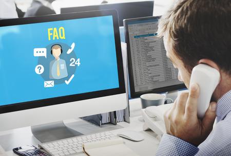 FAQ Enquiry Questions Guide Customer Support Concept Фото со стока