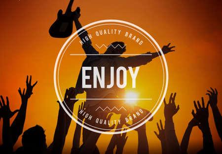 pleasure: Enjoy Enjoyment Appreciate Happiness Pleasure Concept