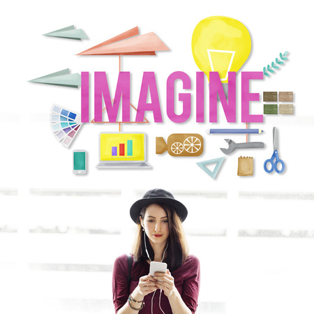 dream vision: Imagine Creative Dream Expect Ideas Vision Concept Stock Photo
