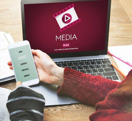 mass storage: Media Digital Communication Information Social Concept