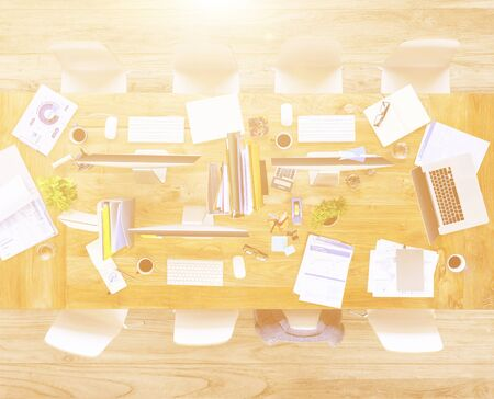 messy: Messy Office with No People