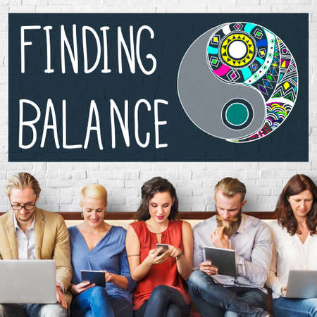 Finding Balance Yin-yang Wellbeing Concept Stock Photo
