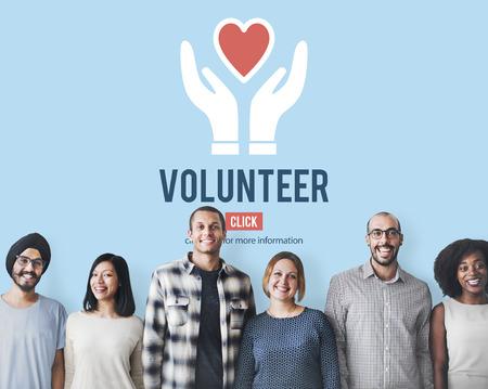 heart sign: Volunteer Helping Hands Heart Icon Concept.
