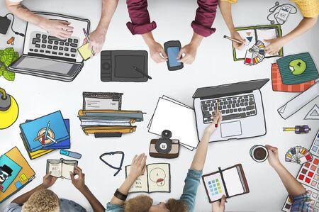 workstation: Workstation Top View Desktop Notebook Desk Concept