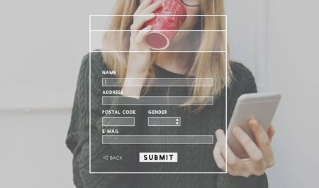 submit: Account Profile Online Submit Concept