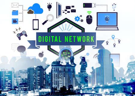 lan connection: Digital Network Computer Connection Server LAN Concept