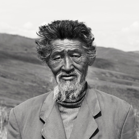 independent mongolia: Senior Mongolian Solitude Traquil Rural Remote Concept