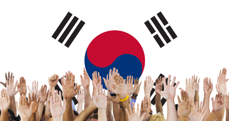 raise the white flag: South Korea National Flag Group of People Concept
