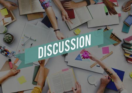 negotiate: Discussion Arguing Communicate Negotiate Talk Concept