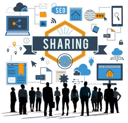 sharing: Sharing Online Networking Connection Concept