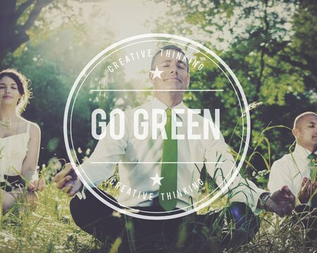 environmentalist label: Go Green Ecology Environment Natural Concept Stock Photo