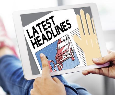 headlines: Latest Headlines Breaking Communication Inportant Concept Stock Photo
