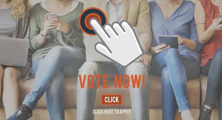 elect: Vote Now Choice Decision Elect Political Poll Concept Stock Photo