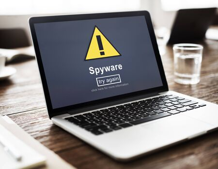 computer hacker: Spyware Computer Hacker Spam Phishing Malware Concept Stock Photo