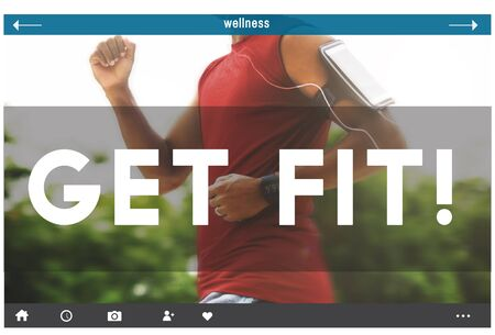 get a workout: Get Fit Activities Fitness Exercise Health Sports Gym Concept Stock Photo