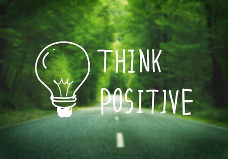 optimismo: Think Positive Attitude Optimism Inspire Concept Foto de archivo
