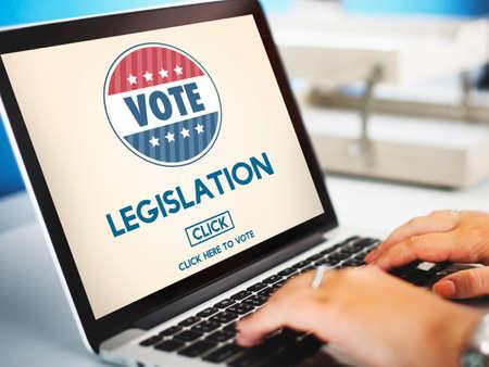 autoridad: Legislation Law Justice Authority Vote Concept Foto de archivo