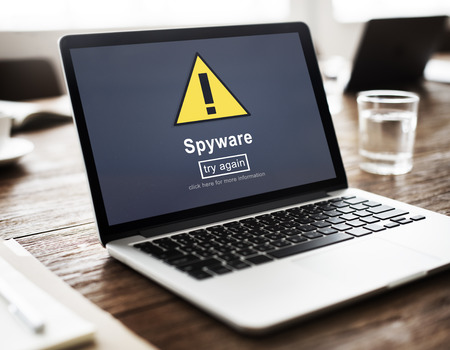spyware: Spyware Computer Hacker Spam Phishing Malware Concept Stock Photo
